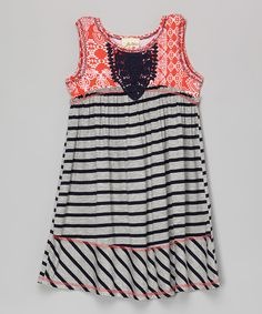 Look at this Navy & Red Stripe Crochet Swing Dress - Toddler & Girls on #zulily today!