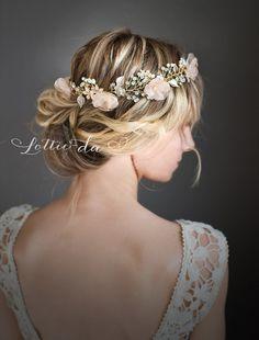 Boho Gold Flower Crown Halo, Gold Wedding Flower Hair Vine Hair Wreath, Boho Wedding Headpiece - 'VALENTINA 21 inch'