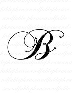 Letter B Hearts 273 Digital Download Alphabet by phraseandfable