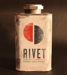 """Designed by Stephen Bamford   Country: Canada  """"Virtually every energy drink today is marketed towards youth culture, the kind that wants a quick buzz just to keep the fun going. What about the blue collar worker that just wants to have energy to get the job done or the fisherman that woke up at 3:00AM to get to the best fishing spot? RIVET is for them."""""""