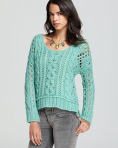 free people green sweater | Free People Sweater Fluff Long Sleeves in Green (mint) - Lyst