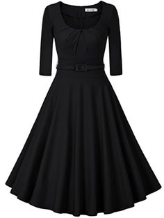 I love how modest it is and yet still stylish! vintage-scoop-neck-three-quarter-sleeve-pleated-swing-cocktail-dress