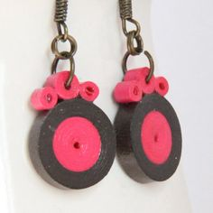 Fall Fashion Circle Earrings Pink and Brown Handmade by HoneysHive, $9.50