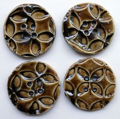 """Porcelain Buttons, 2"""", Stamped Texture, Cone 6.  NorthStar Pottery."""