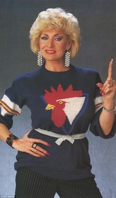 Finger guns: Actress and comedian Faith Brown donned a cockerel embellished knit