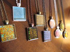 Beautiful pendants made with nail polish. A fun project for Juniors earning their Jeweler Badge.