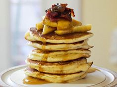 Bourbon, Apple and Bacon Pancakes. Everything is better with bacon!