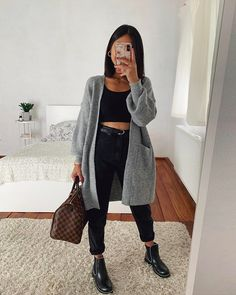 High Waisted Jeans With Comfy Cardigan Outfit ★ When the fall. - High Waisted Jeans With Comfy Cardigan Outfit ★ When the fall… Source by leylapeksever - Dressy Fall Outfits, Mens Fall Outfits, Simple Fall Outfits, Fall Outfits For Work, Date Outfits, Date Outfit Fall, Casual Weekend Outfit, Vegas Outfits, Date Outfit Casual