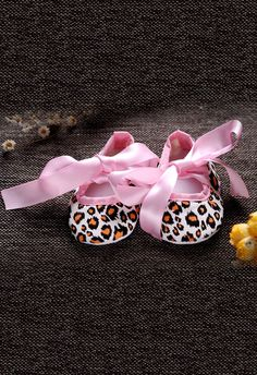 D'chica Fashionista Animal Print Shoes Pink. Baby girl shoes.