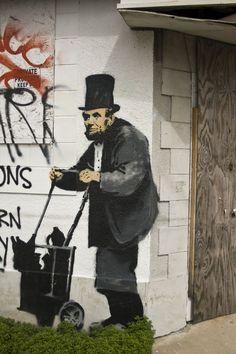 Abraham Lincoln Homeless In New Orleans ~ 1998 Banksy nola Graffiti Urban Street Art, 3d Street Art, Amazing Street Art, Street Artists, Urban Art, Arte Banksy, Banksy Graffiti, Bansky, Graffiti Tattoo