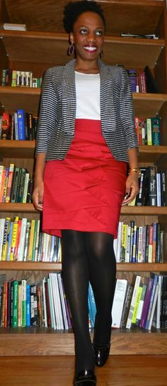 red pencil skirt with a white tee and navy stripe jacket.  Black opaque tights and bordeaux heeled loafer