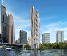 As part of the Riverline master plan along the Chicago River, the visionary River Beech Tower is a residential high-rise. At 80 stories tall, the conceptual brief caters to 300 duplex units and multi-story penetrations that form communal spaces. Architecture Résidentielle, Sustainable Architecture, Innovative Architecture, Amazing Architecture, Melbourne Australie, Wooden Skyscraper, Downtown Photography, Sustainable Building Materials, Timber Buildings