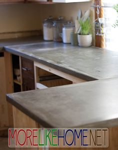 DIY Concrete Countertops - This is a really great tutorial if you're looking to DIY some countertops. She did her whole kitchen for $300! Hard to beat.