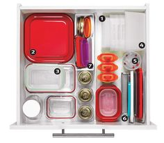 Purge ruthlessly, keeping only containers you use all the time; toss anything missing a top or a bottom.