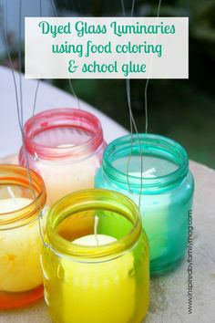 Create beautiful dyed glass luminaries using upcycled baby jars, food coloring, and school glue. Great for home decor or DIY table decorations for parties. Baby Food Jar Crafts, Mason Jar Crafts, Mason Jars, Bottles And Jars, Glass Jars, Candle Jars, Candle Holders, Glass Candle, Glass Bottle