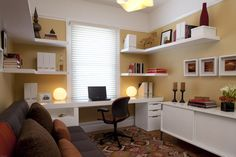 Inspiration for my home office...The corner and random shelves are what interested me