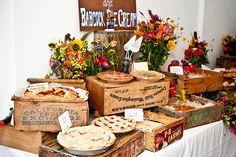 I love the idea of a pie bar for a grooms table!Juneberry Lane: Desserts For Fall: Butter Pecan Pumpkin Pie & A Pie Bar! Wedding Food Bars, Wedding Desserts, Wedding Ideas, Trendy Wedding, Fall Wedding, Pie Bar Wedding, Buffet Wedding, Wedding Bells, Dream Wedding