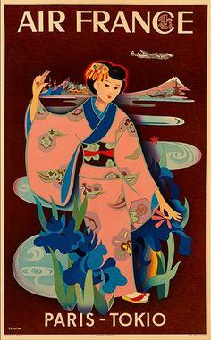 Tabuchi Yasse 田淵 安一 (1921-2009)Air France advertising poster - 1950s