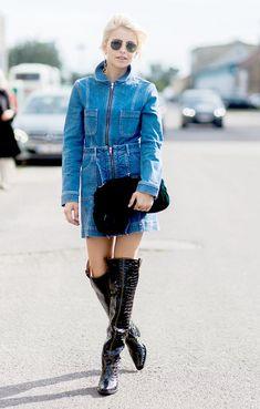 Every Cool Girl Is Wearing This Surprising Denim Trend via @WhoWhatWearAU Jeans Dress, Denim Skirt, Denim Dresses, Denim Fashion, Girl Fashion, Blue Jeans, Blue Jean Dress, Estilo Denim, Denim Trends