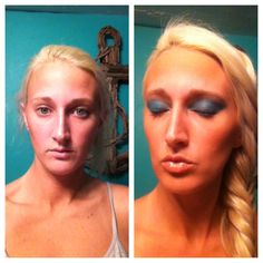 Before & After. Airbrush makeup by Isle Gallagher using turquoise air shadow by Dinair. Www.srqhair.com