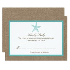 Destination Wedding Invitations Turquoise Starfish Burlap Beach Wedding Collection Card