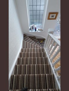 Stripes on stairs always work and this is perfectly shown by our Gloucester Stripe   Photo taken by Monument Flooring
