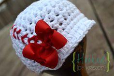Batter up Crochet Baby Baseball Hat Photography by hookedbykristen, $22.00