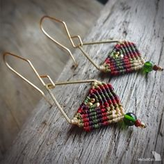 macrame earrings, beaded earrings, 925 sterling silver 24K gold plated beads, gold plated copper earwires, brass triangle