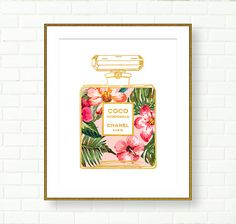 Chanel Coco Mademoiselle Art, Floral, Gold Pink, VANITY DECOR, PRINTABLE ART, Floral