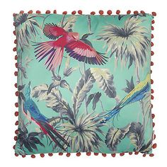From our exclusive Butterfly by Mathew Williamson range, this cushion will add a splash of colour to the home. Its chic design is finished in turquoise with a colourful bird print and a pom pom trim.