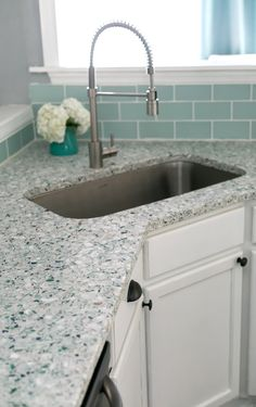 I can't believe that this coastal kitchen was a complete DIY! Love the beautiful terrazzo recycled sea glass and oyster shell counter tops Mint green kitchen island, white cabinets, sea glass backsplash- Charleston Crafted Recycled Glass Countertops, Kitchen Countertop Materials, Kitchen Countertops, Kitchen Cabinets, Kitchen Sinks, Layout Design, Design Ideas, Green Kitchen Island, Terrazzo