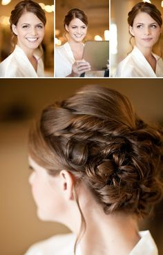 Twisted sections rolled into a bun. Elegant. This might be my favorite wedding hair so far!!