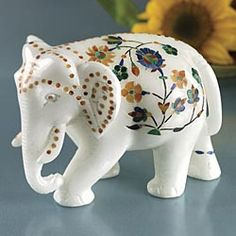 elephant sculpture: marble inlay with semi precious stones