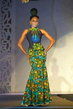 African Designer Clothes For Women African long dress green and