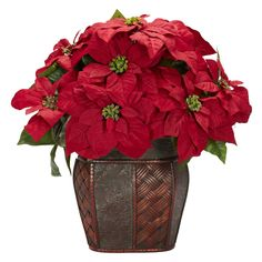 <li>Materials: Polyester  material, plastic, iron wire, wood, PVC leather</li> <li>Plant type: Poinsettia</li>  <li>Overall dimensions: 18 inches high x 18 inches wide x 13 inches deep</li>