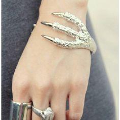 Modern Silver Claw Cuff Bracelet