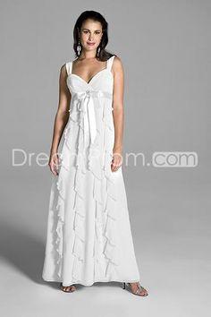 Romantic Empire Straps Ankle-Length Ruffles Chiffon Wedding Dress dd39108dbf71