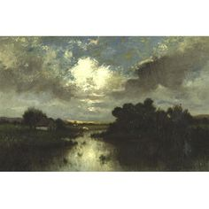 Jules Dupré - FARM IN SUNSET, oil on canvas