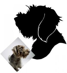 This silhouette looks almost exactly like Fiona. I see an art project here. Dog Silhouette, Silhouette Portrait, Silhouette Artist, Diy Art Projects, Animal Projects, Dog Crafts, Animal Crafts, Griffon Tattoo, Diy Stuffed Animals