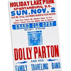 Hatch poster advertising Dolly Parton's appearance with her Family Traveling Band in Spartanburg, South Carolina in 1975.