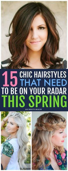 15 Easy Spring Hairstyles That Will Surely Make a Statement. Find a style for long hair, medium, short, bobs, braids, updo, fringe or with curly styles to try at work or for school. Click pin for tutorials! Hot Beauty Health #springhairstyles #hairstyles #hair