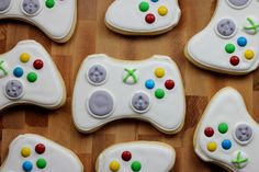 Super cool video game controller sugar cookies. Awesome for a video game birthday party!