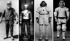 LEFT TO RIGHT: THE FIRST PRESSURE SUIT DESIGNED BY RUSSELL COLLEY AND WILEY POST, 1932; THE LITTON MARK I; THE RX2A, 1965; THE AX-1 BY VIC VYKUKAL, 1964. / via de monchaux's space suit book