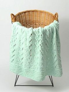 This quaint baby blanket knitting pattern makes a charming addition to any baby& nursery. The delicate lacework combined with the soft mint hue of the Soft Vines Baby Blanket gives off a pleasant, soothing vibe. Baby Knitting Patterns, Baby Patterns, Free Knitting, Baby Blanket Knitting Pattern Free, Sweater Patterns, Heart Patterns, Knitting Yarn, Crochet Patterns, Baby Afghans