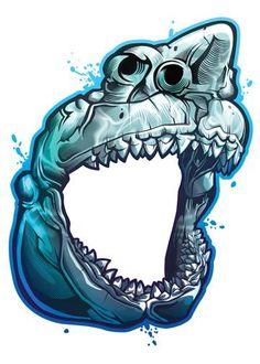 Great White Shark Skull Temporary Tattoo - Savage Skulls