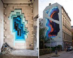 """1010"" Paints Dreamy, Vortex-Like Murals in Fondi, Italy | Hi-Fructose Magazine"