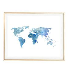 blue world map painting map art print room decor Typographic Print drawing wall decor framed quotes travel poster tumblr room decor 8x10