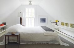Steal This Look: Danish Modern in Upstate New York : Remodelista Attic Bedrooms, Upstairs Bedroom, Modern Bedrooms, Serene Bedroom, White Bedroom, Bedroom Images, Flat Sheets, Danish Modern, Bed Spreads
