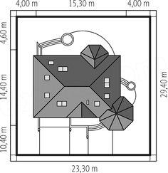 Rzut projektu Tulipan G2 Modern Bungalow House, House With Porch, Malaga, Outdoor Living, Floor Plans, Diagram, House Styles, Bathroom Ideas, American Houses