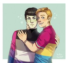Commission with Spock and Kirk in pride shirts! Commissions info